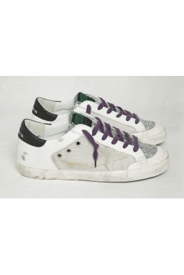 GOLDEN GOOSE Superstar White Leather Silver Glitter Violet Lace