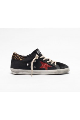 GOLDEN GOOSE Superstar Black Red Gilitter Star