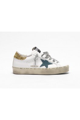 GOLDEN GOOSE Hi Star White Gold glitter heel