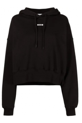 MSGM Black Sweatshirt With Hoodie