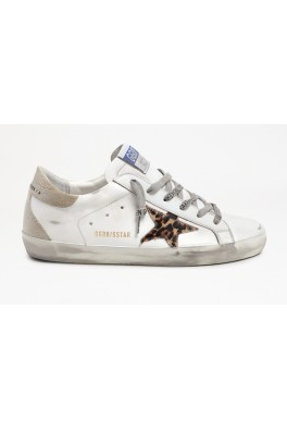 SUPER-STAR LEATHER UPPER LEOPARD HORSY STAR CHECKERED GLITTER HEEL AND SPUR